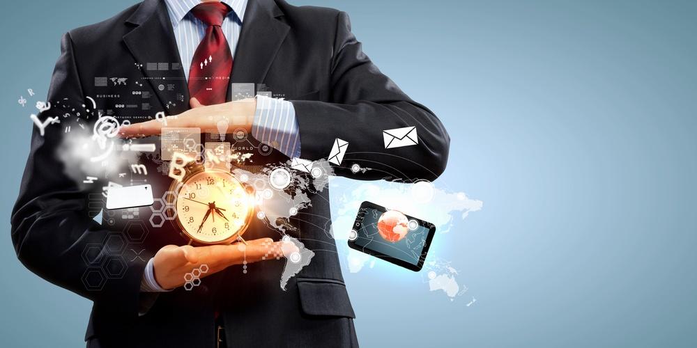 Image of businessman holding alarmclock against illustration background. Collage.jpeg